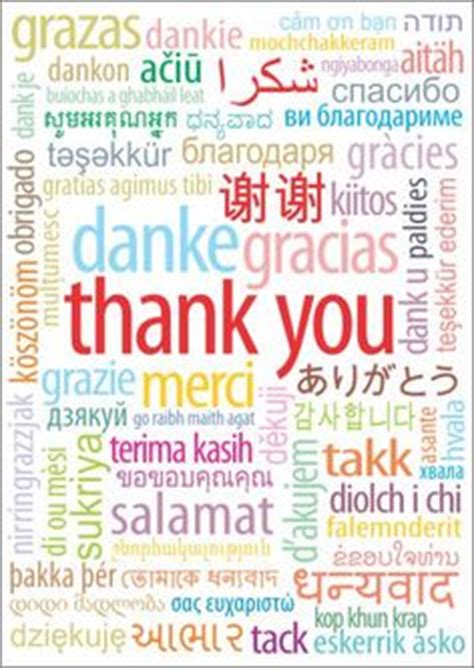 Thank You Note For Language Thank You In Different Languages Picture Thank You In
