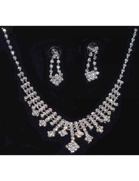 Rhinestone Necklace Earring rhinestone silver necklace and earring set