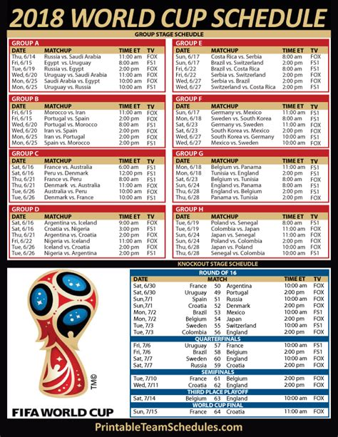 Printable 2018 World Cup Schedule