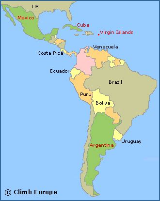 map of central and south america rock climbing in central and south america including the