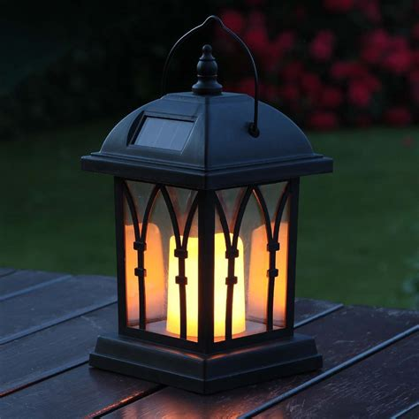 Black Solar Candle Lantern Flickering Amber Led 27cm Lights And Lanterns