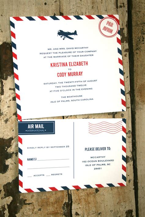 mail for wedding invitation air mail wedding invitations favors and more emmaline