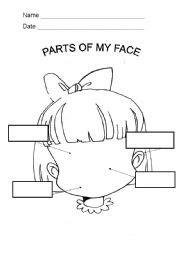 kindergarten activities my face english worksheet parts of my face
