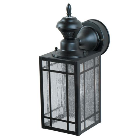 Motion Activated Light Outdoor Shop Portfolio Black Motion Activated Outdoor Wall Light At Lowes