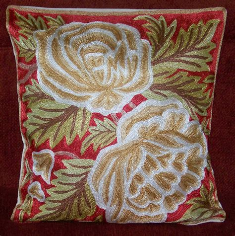 Cushion Cover Stitching Chain Stitch Ari Work Hand Crafted Pillow Cushion Cover