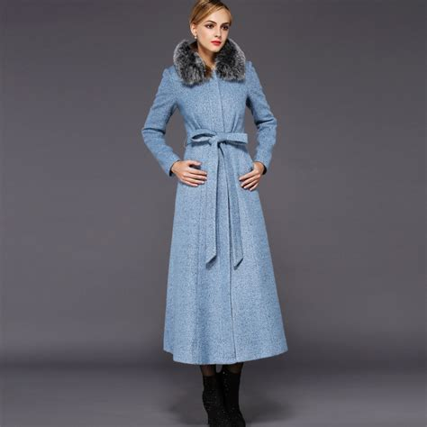 light blue wool coat 2015 light blue wool coat with fox fur collar winter