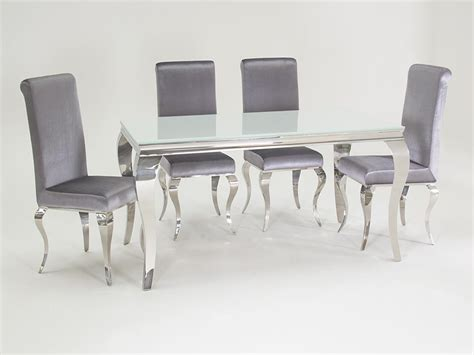 silver dining room table louis 200cm white and chrome dining table with 6 sliver chairs