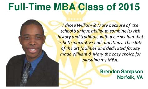 Norfolk State Mba by Why W M The Class Of 2015
