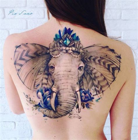 tattoo back large ornate elephant