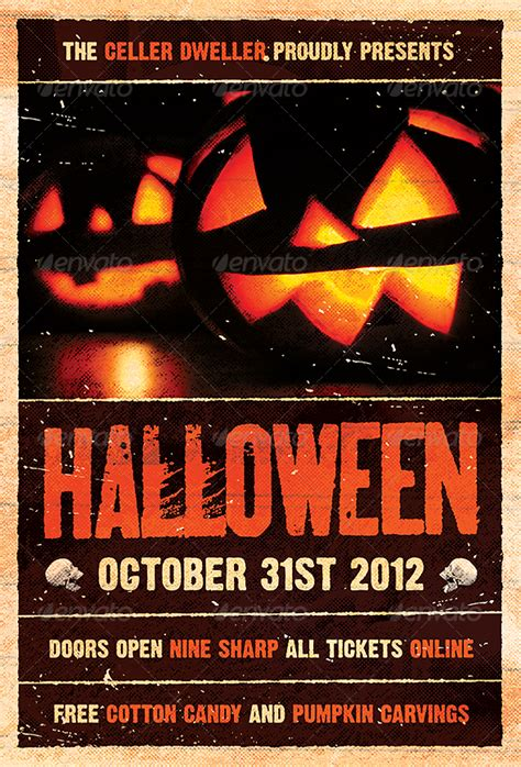 pumpkin head halloween flyer template by furnace