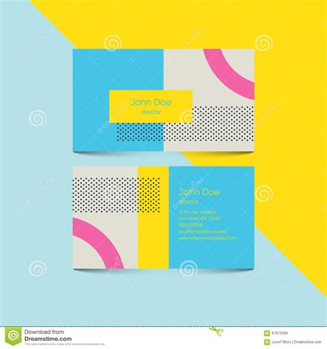 ui pattern names material design business card template with 80s style