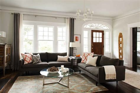 two loveseats in living room charcoal gray sofas contemporary living room