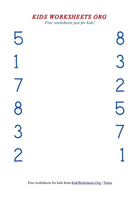 matching numbers worksheet matching worksheets with numbers worksheets org
