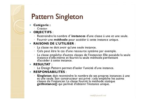 pattern singleton softcours design pattern m youssfi partie 9 creation des