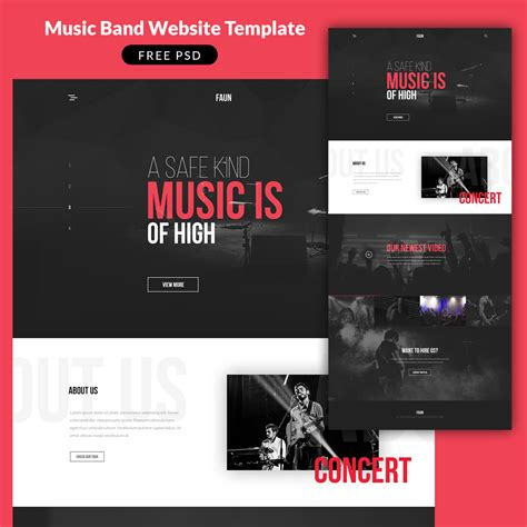 music band website template psd at downloadfreepsd com