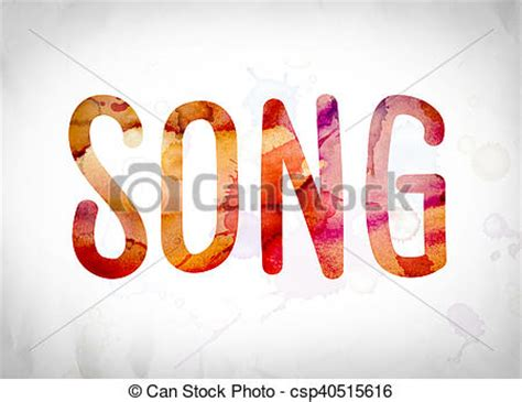songs with the word clipart of song concept watercolor word the word