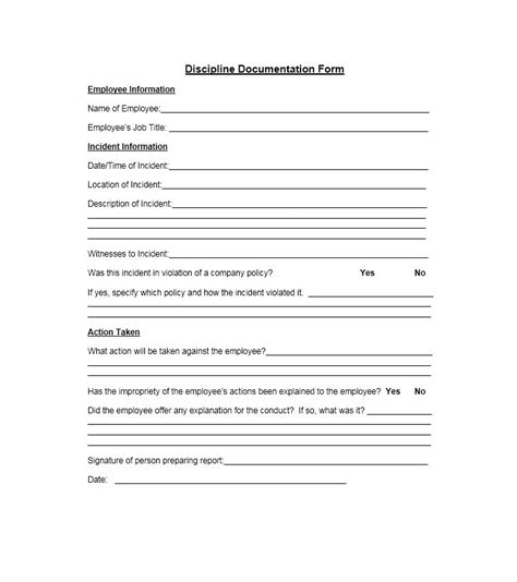 employee discipline form template free 40 employee disciplinary forms template lab