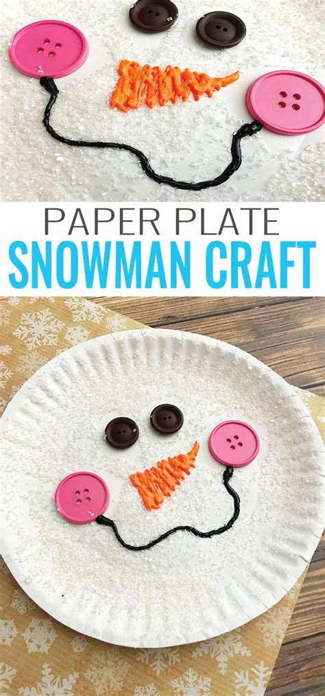 How To Make A Paper Plate Snowman - paper plate snowman craft winter crafts for