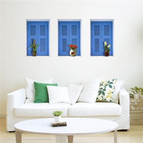 removable wall blue window 3d riding lattice wall decals pag removable