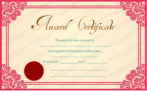 free achievement certificate templates best achievement award certificate template