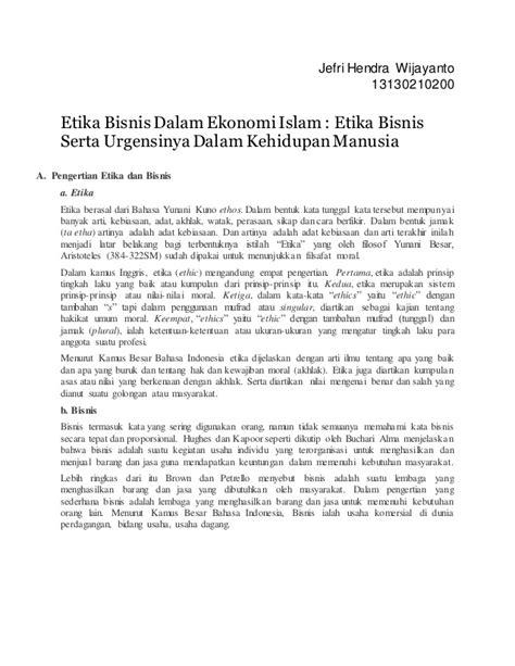 Etika Bisnis Dalam Islam 1 Etika Bisnis Dlm Ekonomi Islam