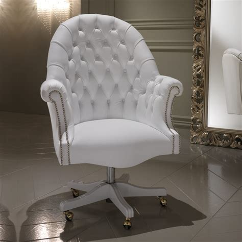 luxury italian white leather executive office chair