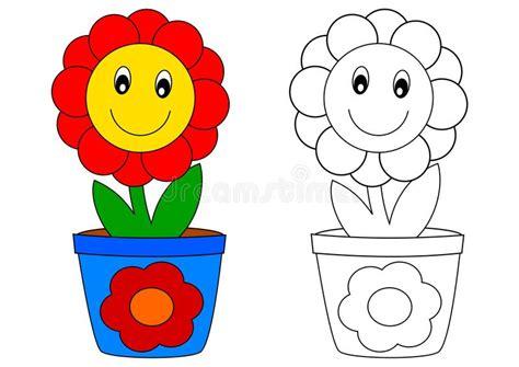 il fiore libro fiore rosso in vaso libro da colorare illustrazione