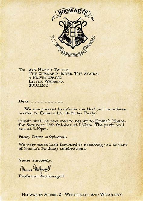 Harry Potter Acceptance Letter Ebay Harry Potter Acceptance Letter Personalised Invite Digital Only Ebay