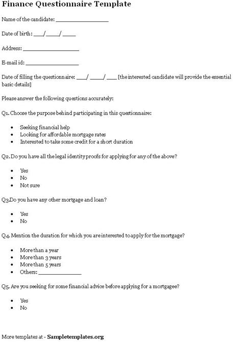 finance questionnaire template of finance questionnaire