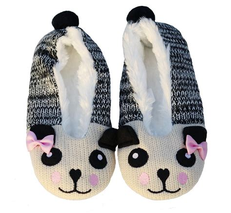 panda slippers knitted panda ballet slippers with lining pandaloon