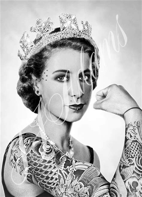 tattoo queen elizabeth queen elizabeth jubilee print tattoo tattooed print by jj