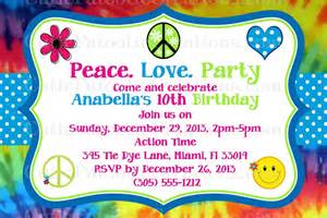tie dye hippie birthday invitations printable or printed
