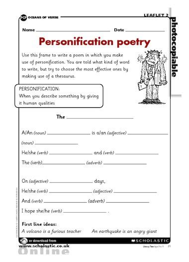 Personification Worksheets by Personification Poetry Writing Frame Primary Ks2