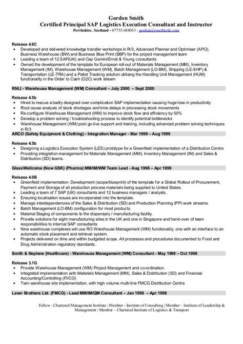 Sap Logistics Execution Consultant Cv Sap Knowledge Transfer Plan Template