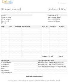 Statement Template Free Word by Billing Statement Template Dotxes
