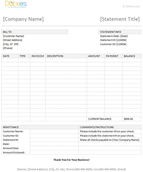 statement template billing statement template dotxes