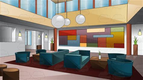 A swanky art deco style hotel lobby cartoon clipart