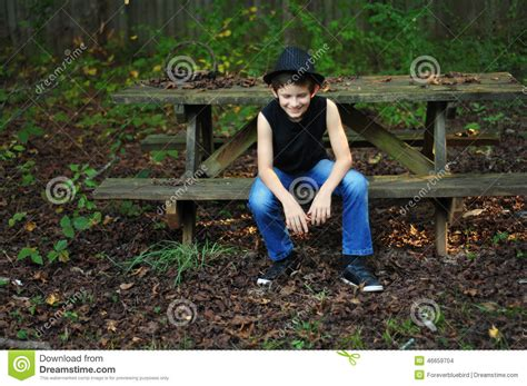 back bench boys back bench boys back bench boys good day in the back yard stock photo