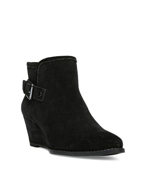 franco sarto wichita suede wedge boots in black save 29