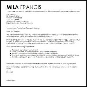 Research Position Cover Letter Exle Psychology Research Assistant Cover Letter Sle Livecareer