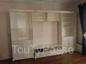 meuble t 233 l 233 avec rangement 2 biblioth 232 ques blanc ikea