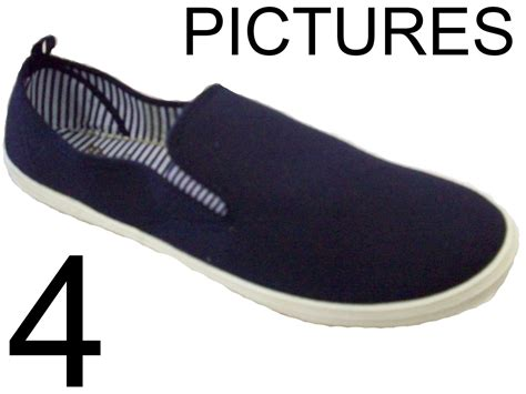 mens size 6 7 8 blue canvas lightweight slip on boat deck
