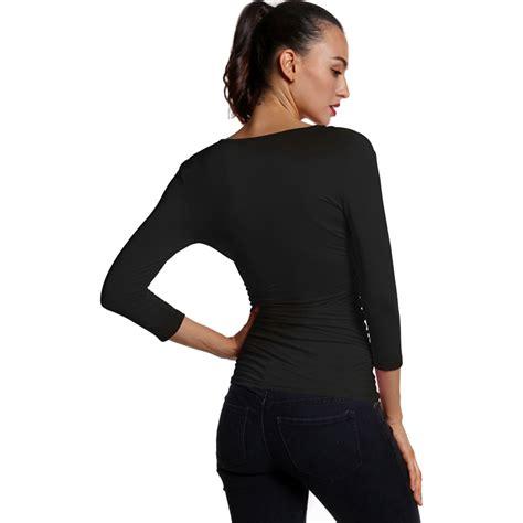 T Shirt Black Oxaf s slim v neck solid three quarter sleeve tops t shirts black s p5z4 ebay