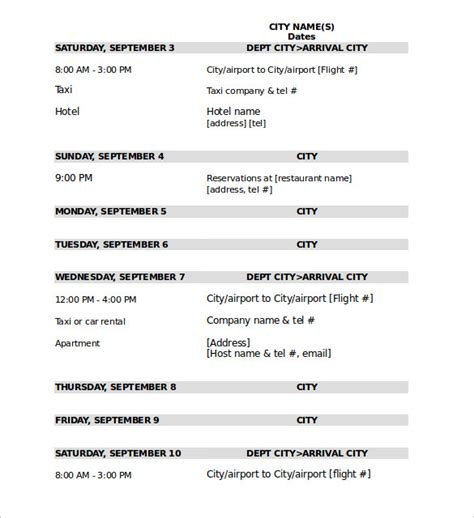 Travel Itinerary Templates by Vacation Itinerary Template Cross Country Road Trip