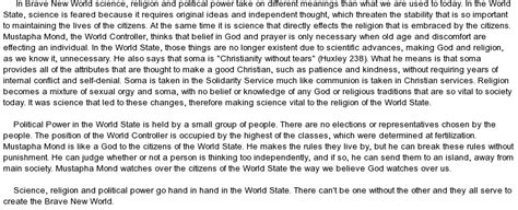 theme of religion in brave new world science religion and political power in a brave new world