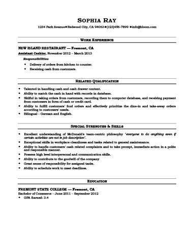 fast food resume samples free resumes tips
