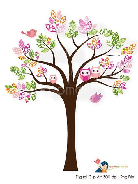 cute trees sweet bird and tree clipart set with cute little owl