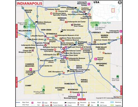 indianapolis map usa buy indianapolis city map