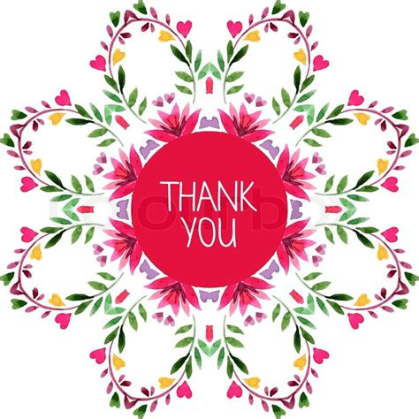 pattern of thank you card watercolor decorative round pattern with floral ornament