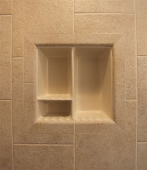 recessed bathroom tile niches traditional tub and
